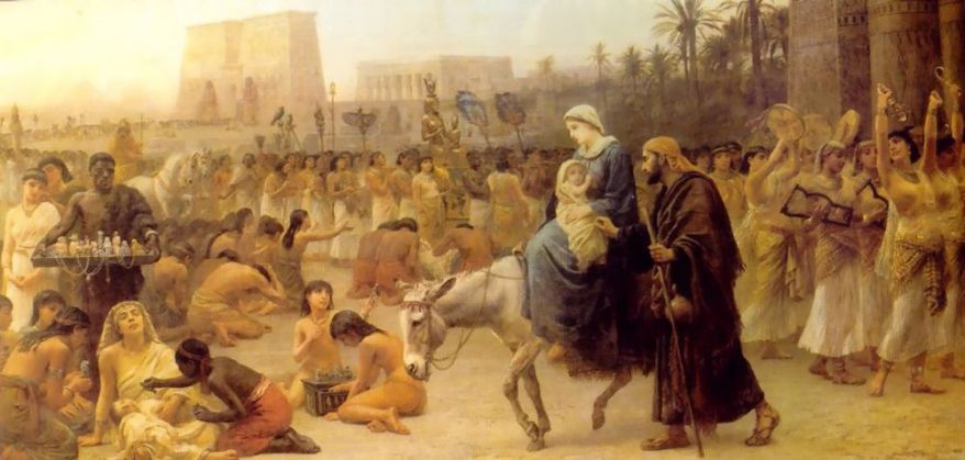 British Orientalist artist Edwin Long, Anno Domini, 1883, shows the arrival in Egypt; the idols seem intact.